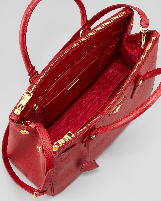 a2beb2d307 ... australia lyst prada saffiano small doublezip executive tote bag in red  23b8c 241a6