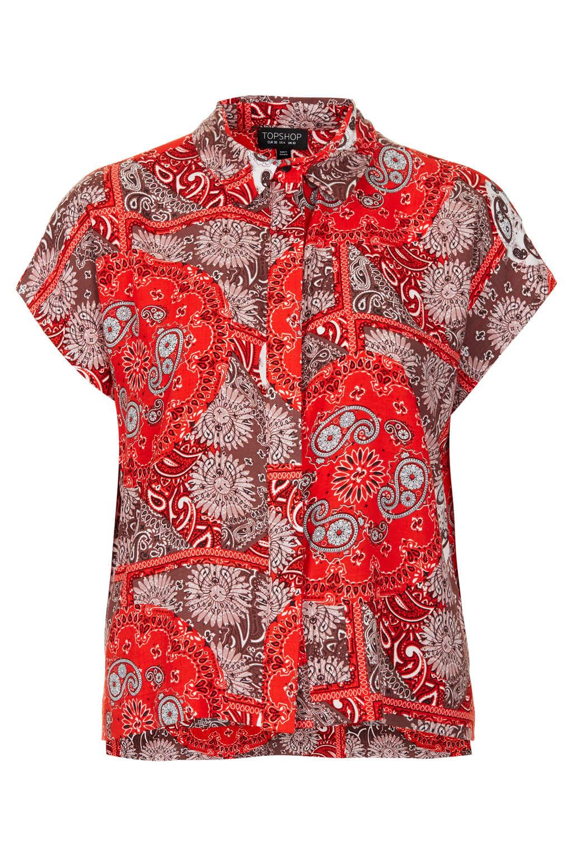 Lyst Topshop Bandana Print Shirt In Red