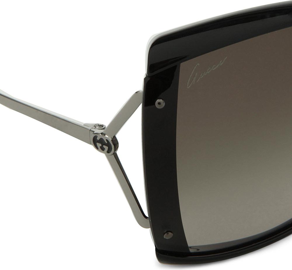 Gucci Square Frame Sunglasses in Black for Men (gunmetal ...