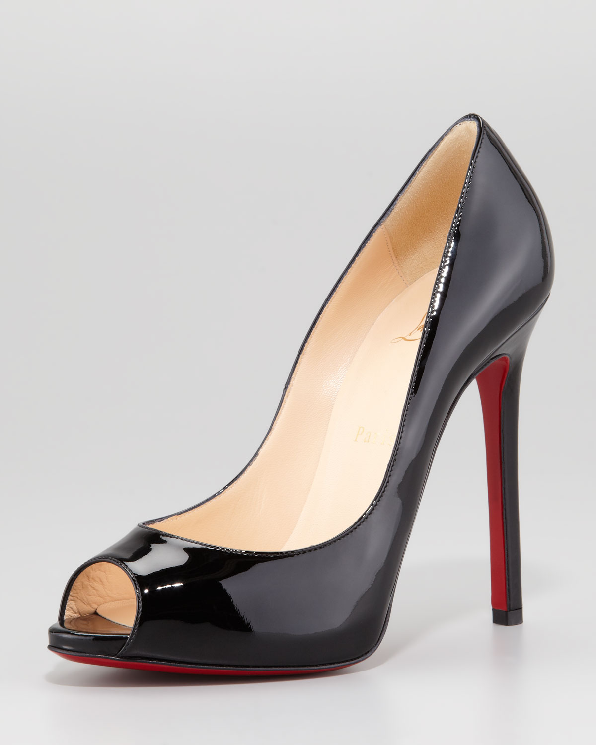 christian louboutin peep-toe platform pumps Black suede covered ...