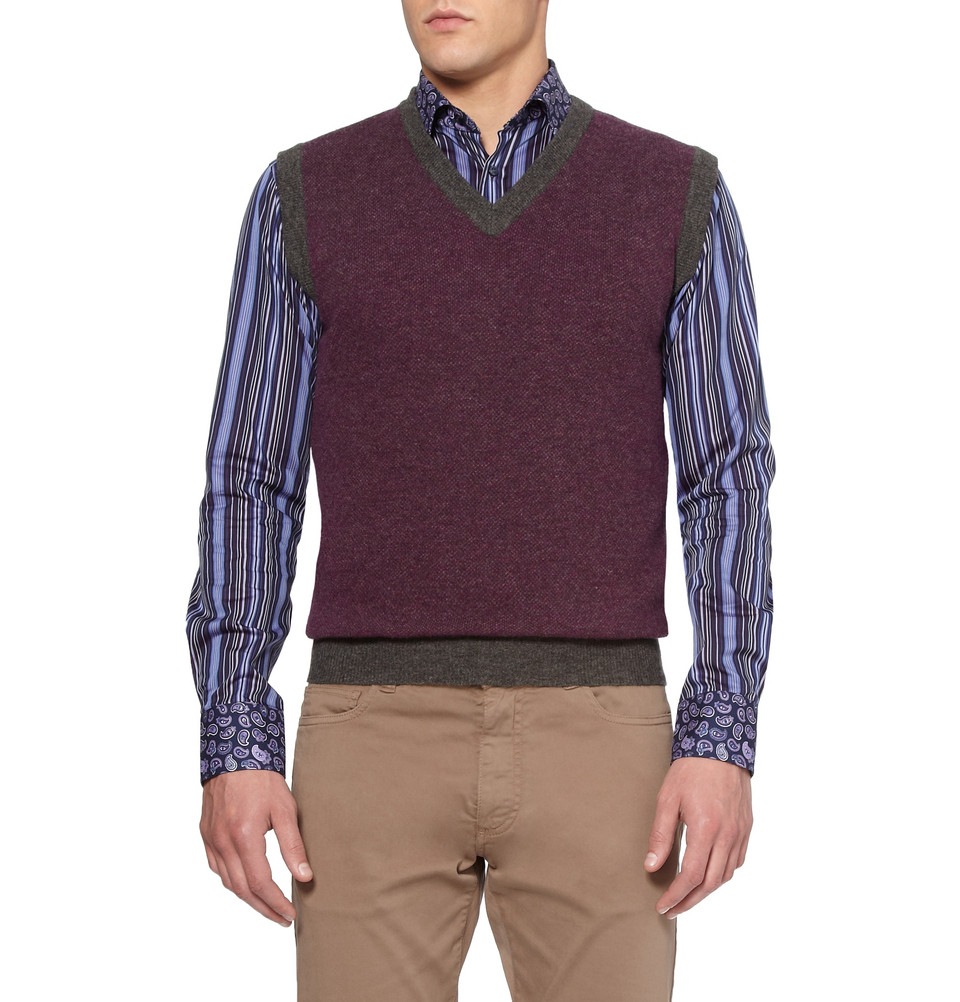 Etro Knitted Wool and Cashmereblend Vest in Purple for Men