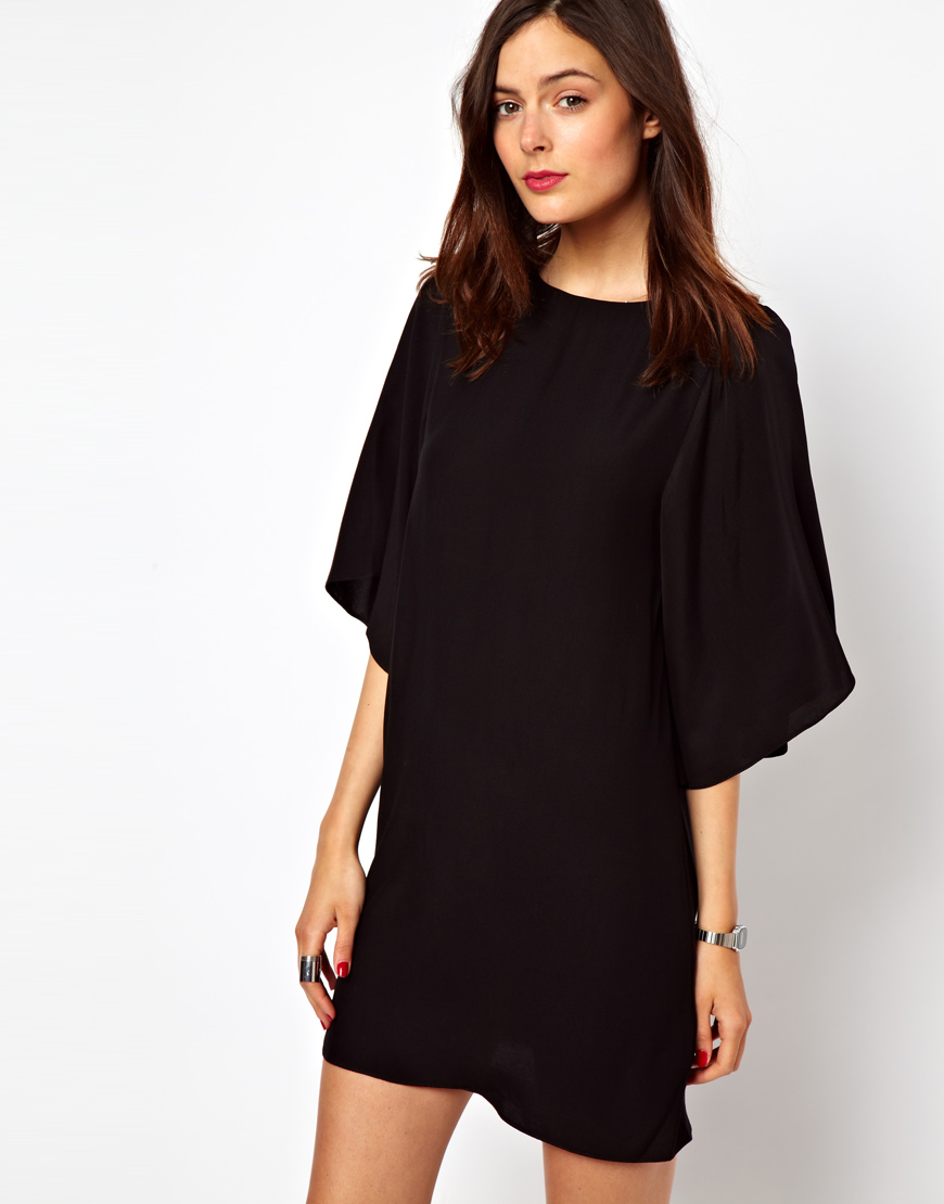 Lyst - Asos Shift Dress with Kimono Sleeve in Black