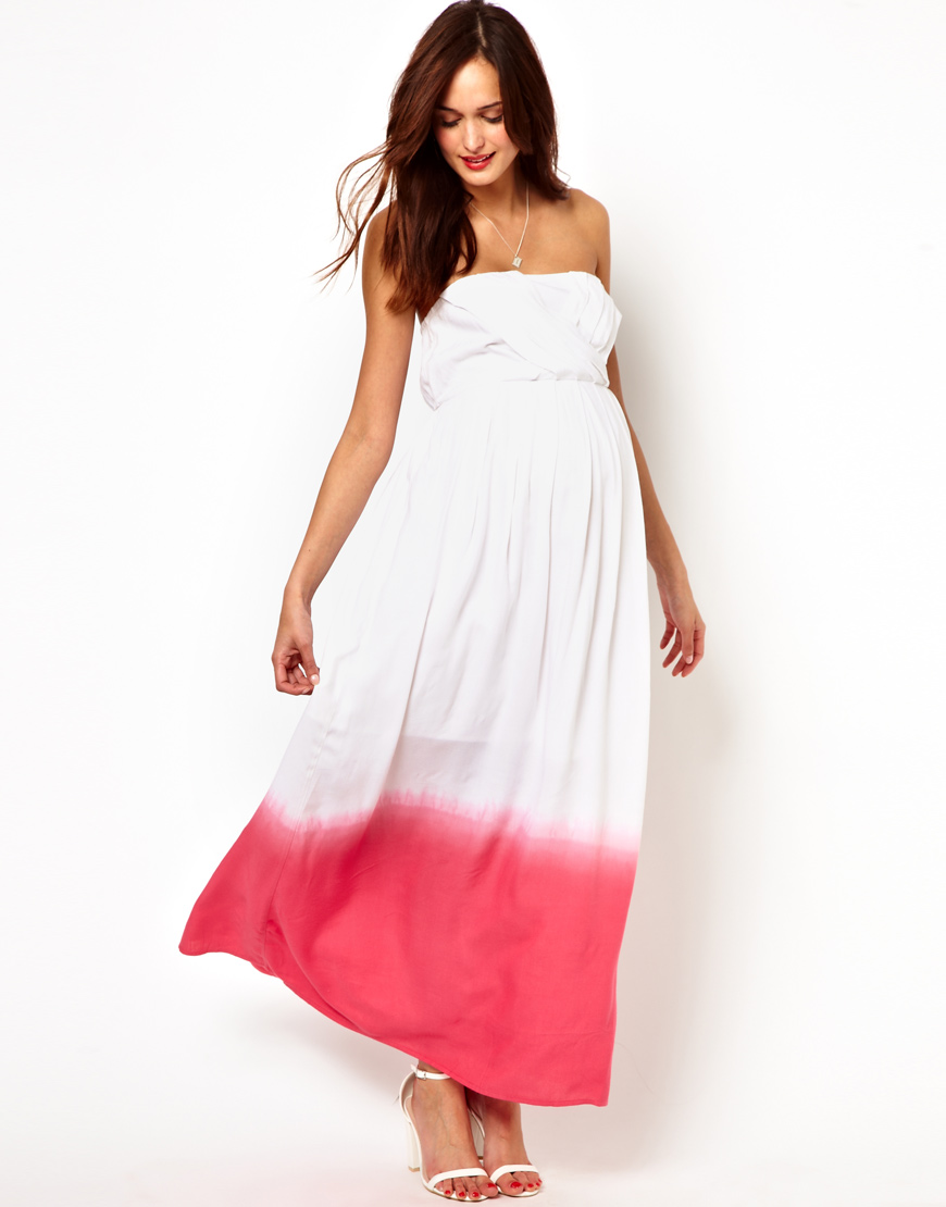 Asos Maternity Bandeau Maxi Dress In Dip Dye In White Lyst