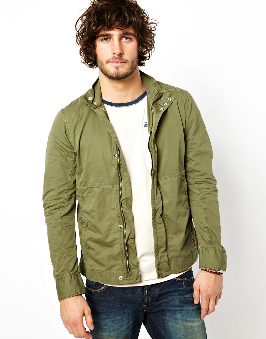 star raw g star overshirt jacket dutton zipfront in green for men. Black Bedroom Furniture Sets. Home Design Ideas