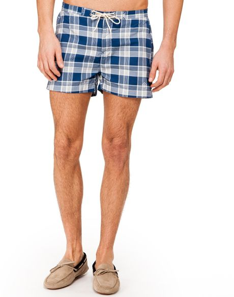 Gant Rugger Check Swim Trunks in Blue for Men (Navy)
