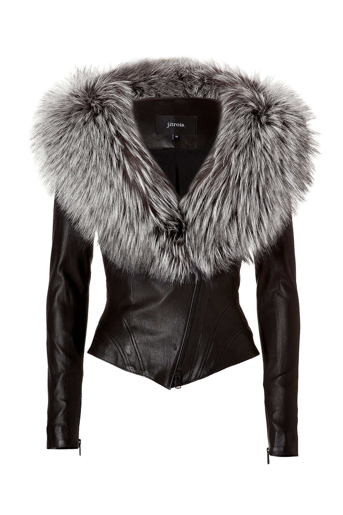 Jitrois Leather Jacket with Silver Fox Fur Collar in ...