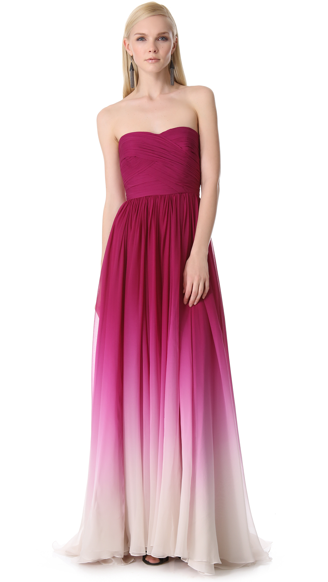 Lyst monique lhuillier strapless sweetheart gown in pink for Monique lhuillier pink wedding dress