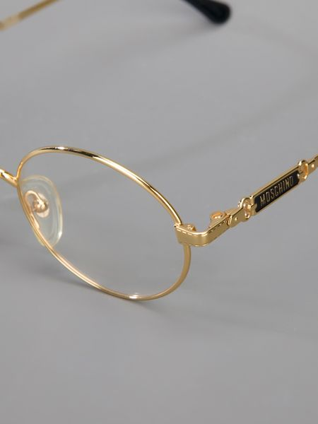 Gold Big Frame Glasses : Moschino Round Frame Glasses in Gold Lyst