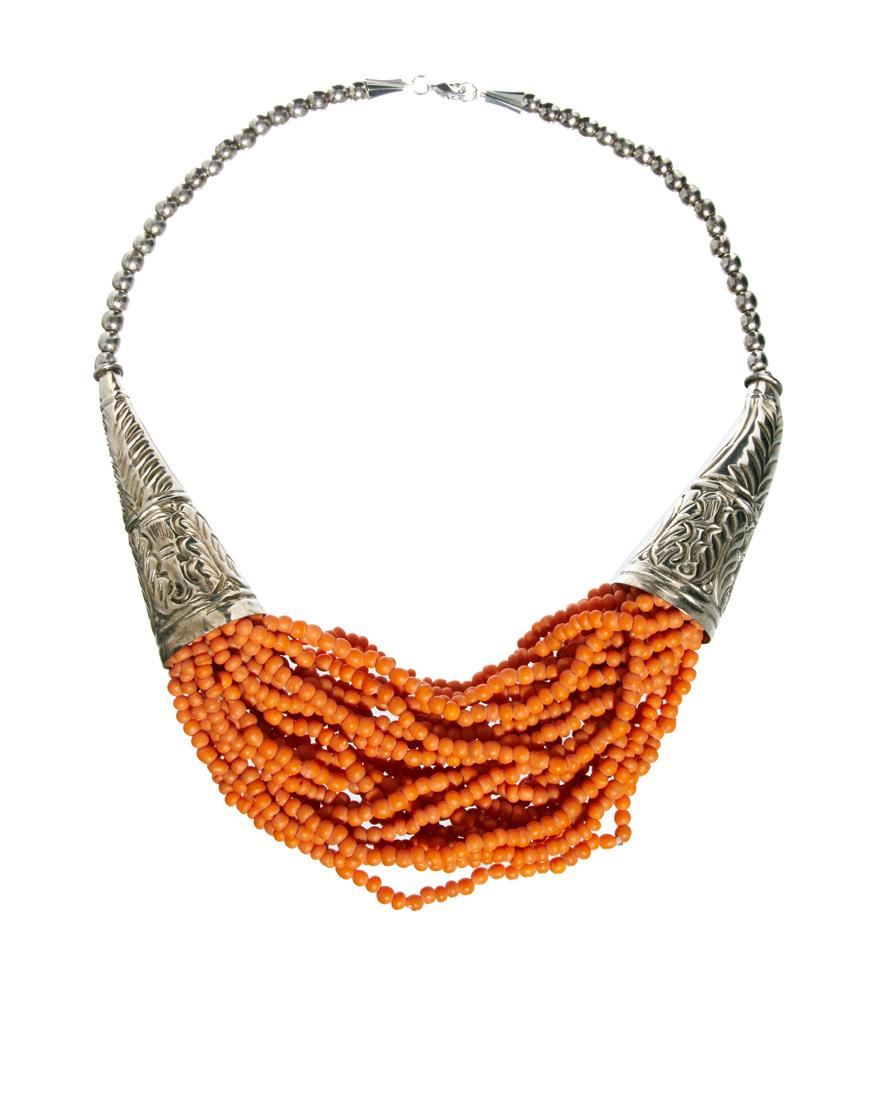 Sam Ubhi Statement Beaded Necklace In Orange Lyst