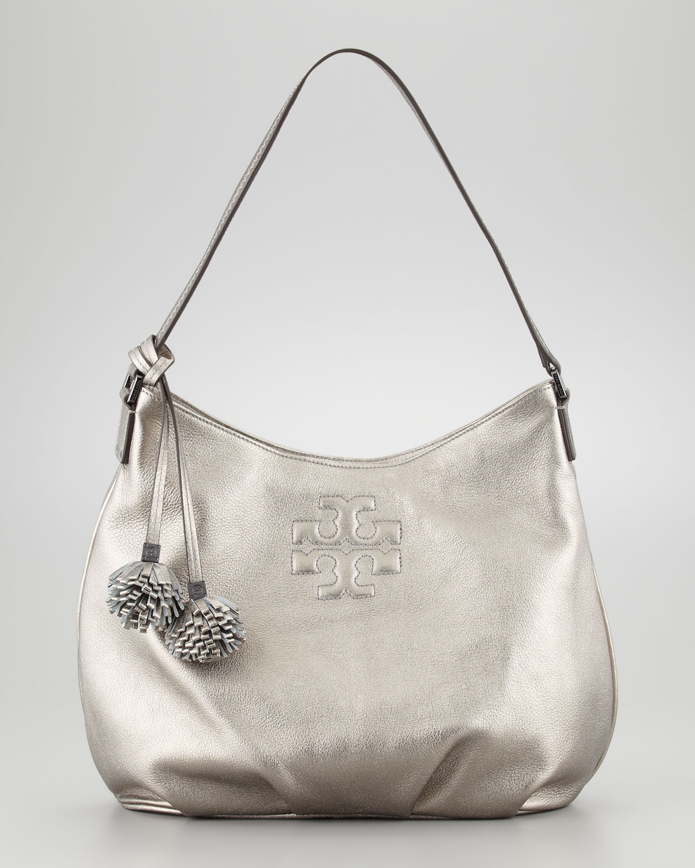 dd35bd9e08ed Lyst - Tory Burch Thea Metallic Leather Hobo Bag in Metallic