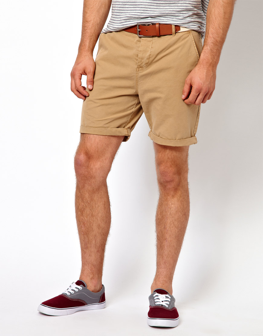 7af33e581a ASOS Chino Shorts With Belt In Mid Length in Natural for Men - Lyst