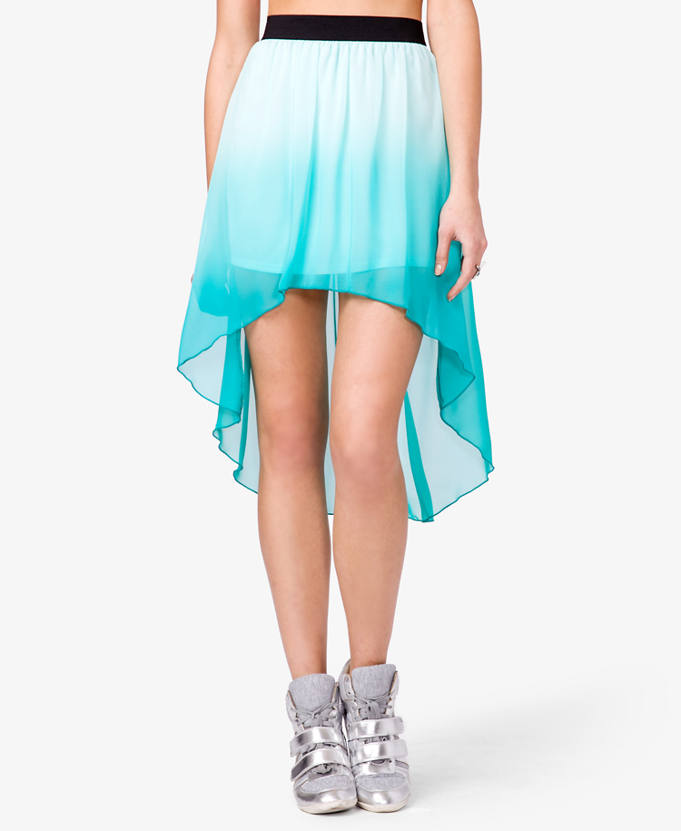 forever 21 ombr 233 highlow skirt in blue aqua lyst
