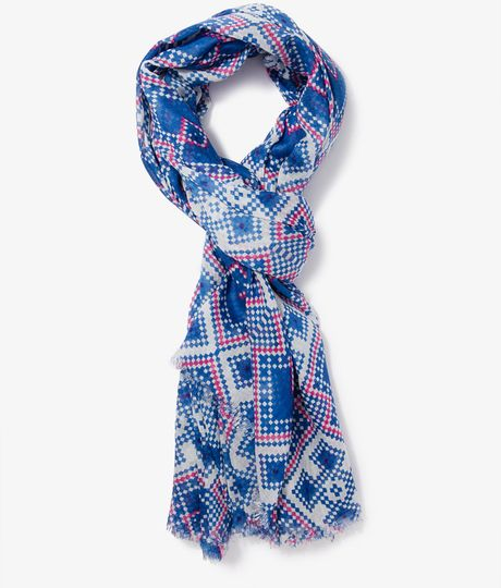 forever 21 geo scarf in blue blue lyst
