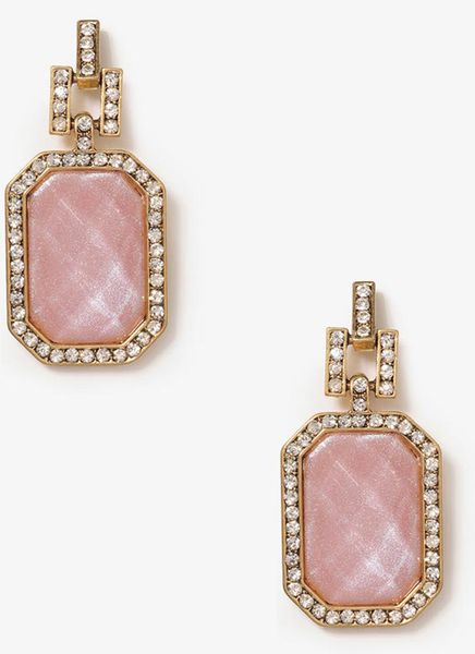 Forever 21 bold emerald cut earrings in pink dusty pink for Forever 21 jewelry earrings
