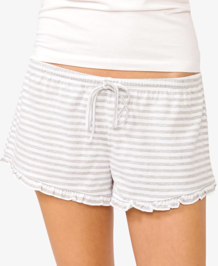 Shorter  Inseam Striped Ruffle  Shorts