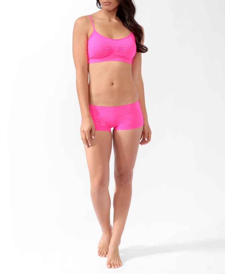 5f29504e8a1 Lyst - Forever 21 Boyshort Padded Layering Bra Set in Pink
