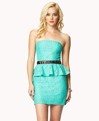 Forever 21 Strapless Lace Peplum Dress in Green | Lyst