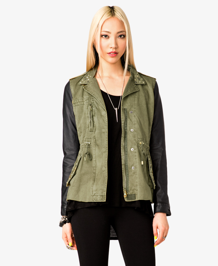 Forever 21 Faux Leather Sleeve Utility Jacket In Green Lyst