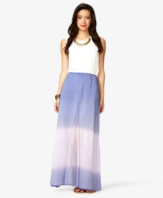 Forever 21 Ombré Layered Maxi Skirt in Purple | Lyst