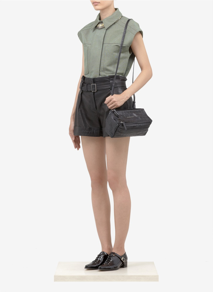 f6633e3379 Lyst - Givenchy Pandora Mini Croc-embossed Leather Crossbody Bag in ...