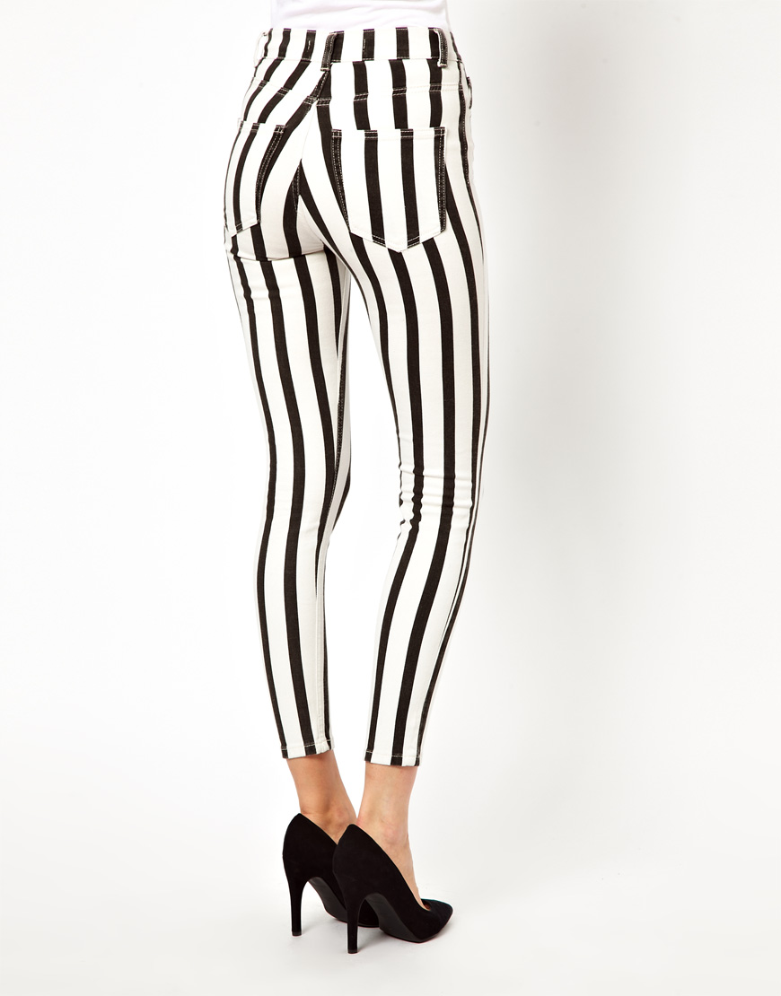 Iro Striped High Waisted Skinny Jeans in Black | Lyst