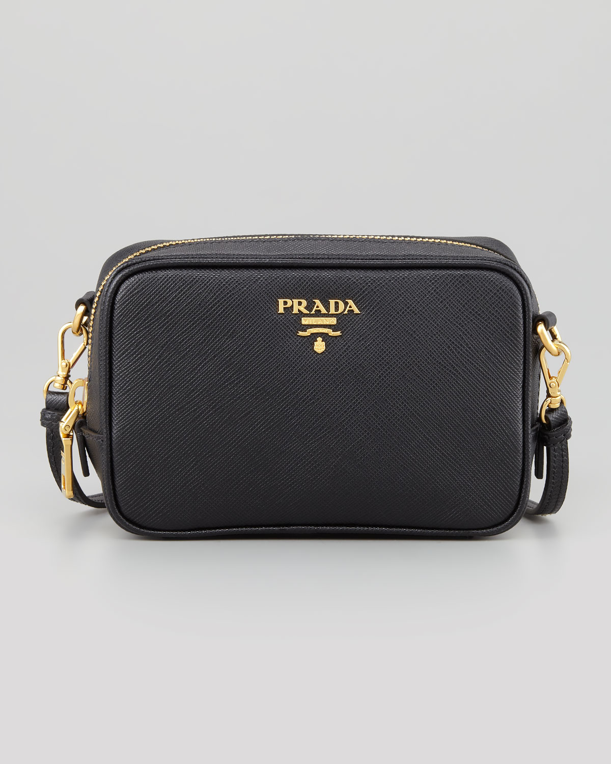 Prada Saffiano Mini Zip Crossbody Bag in Black - Save 19% | Lyst