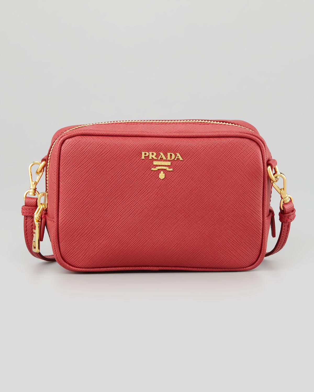 a23b3f1384b3 Prada Saffiano Mini Zip Crossbody Bag in Red - Lyst