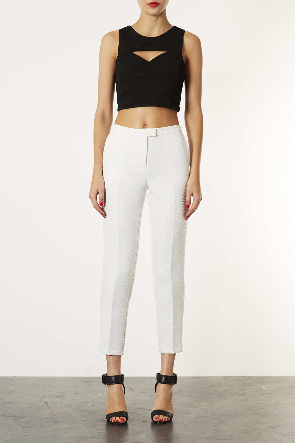 Lyst Topshop Quilted Cigarette Trousers In White