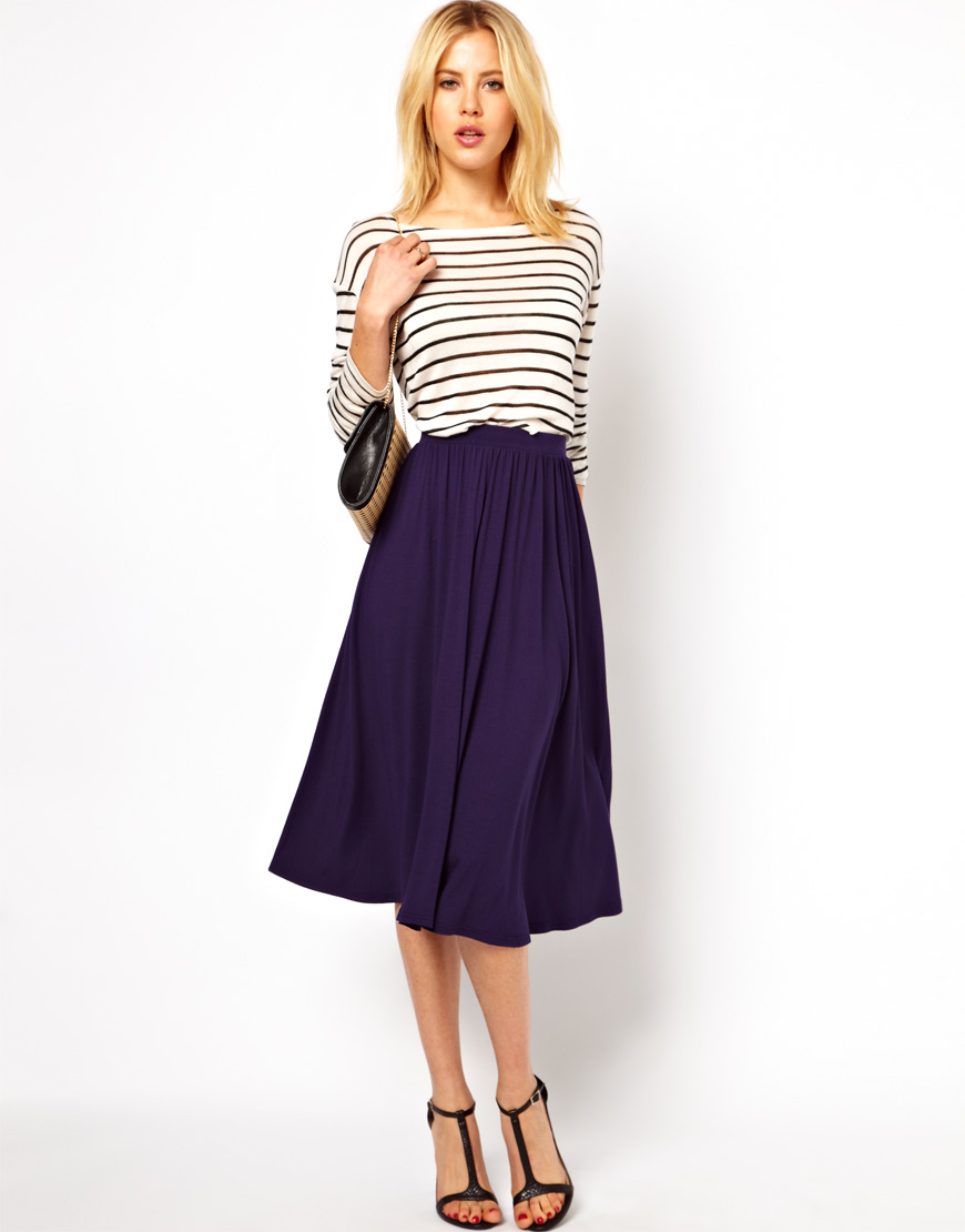 Asos Asos Full Midi Skirt in Blue | Lyst