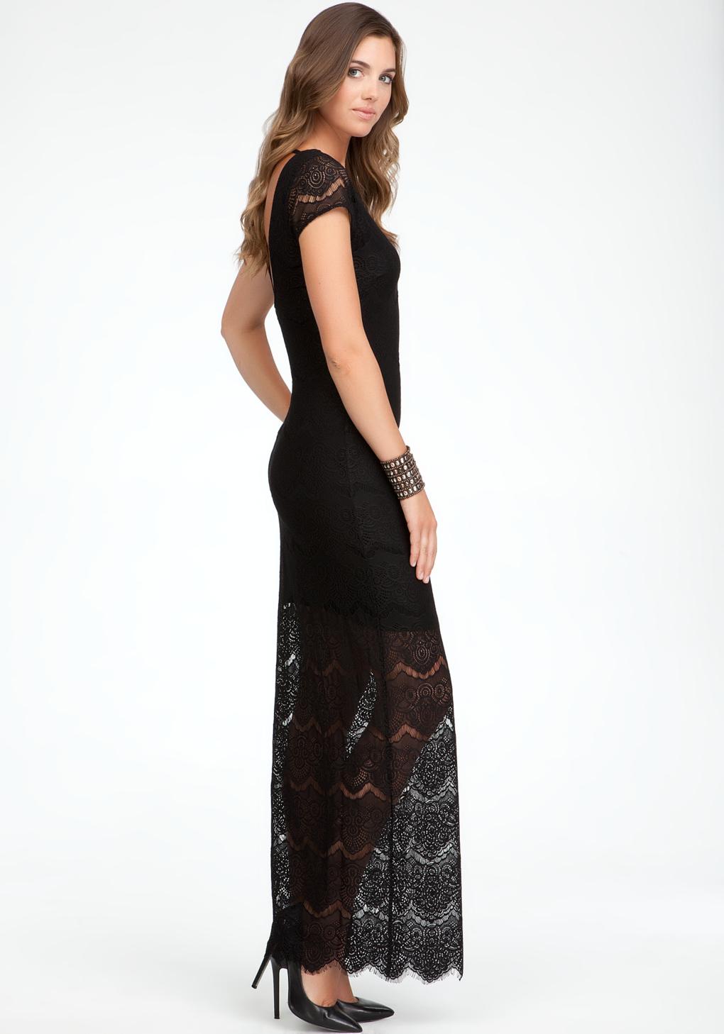 Bebe Open Back Lace Maxi Dress in Black   Lyst