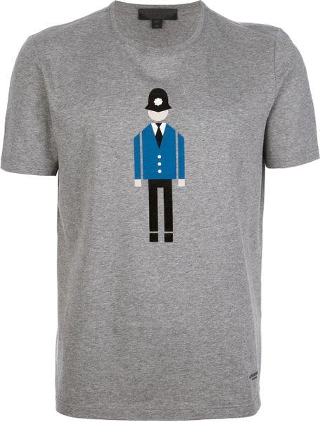 Burberry prorsum policeman print tshirt in gray for men grey lyst