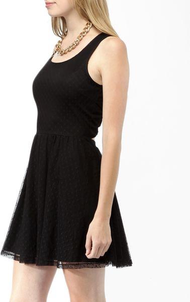Forever 21 Crisscross Back Swiss Dot Dress In Black Lyst