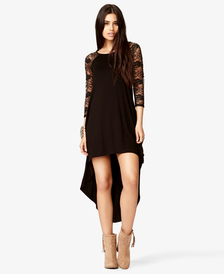 Forever 21 Lace Trimmed High Low Dress In Black Lyst
