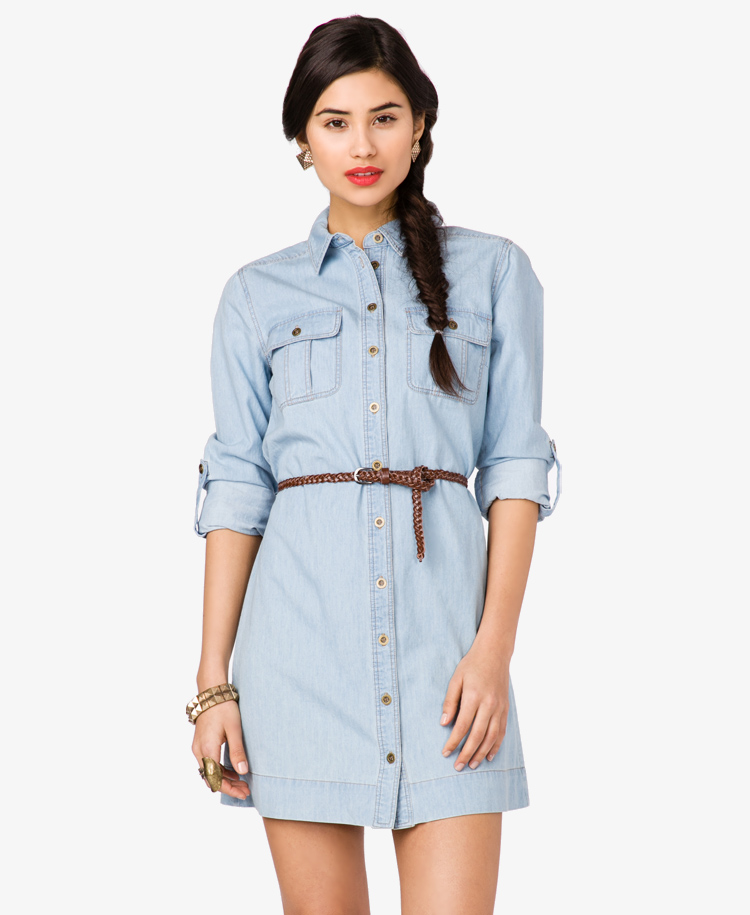 Forever 21 Denim Shirt Dress with Belt in Blue (light denim)