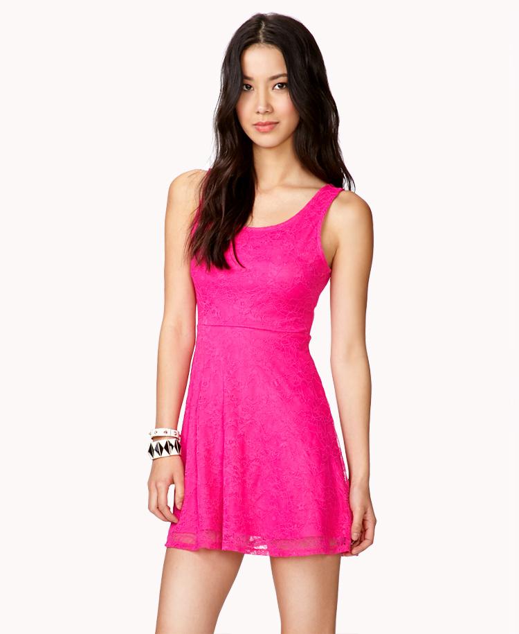 Fit Flare Floral Lace Dress