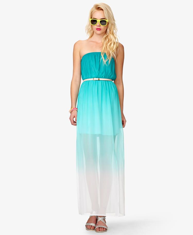 Forever 21 Ombré Maxi Dress W Belt in Blue | Lyst