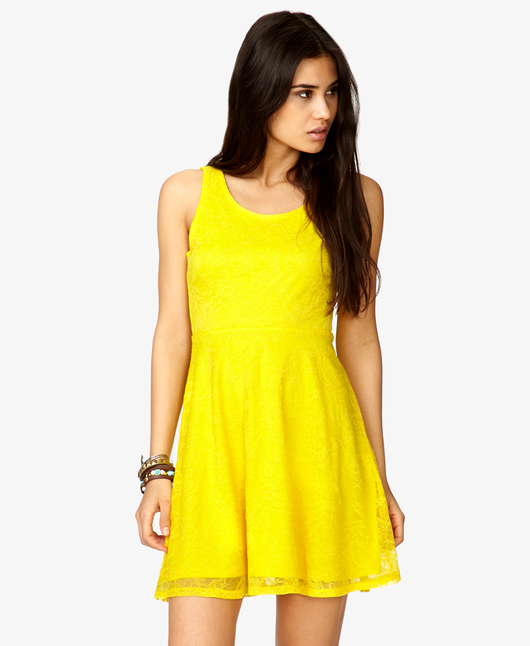Lyst Forever 21 Fit Amp Flare Floral Lace Dress In Yellow