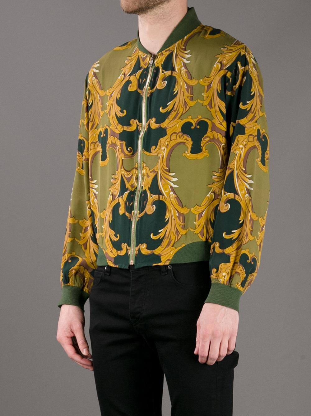 Jean Paul Gaultier Baroque Print Bomber Jacket in Green for Men