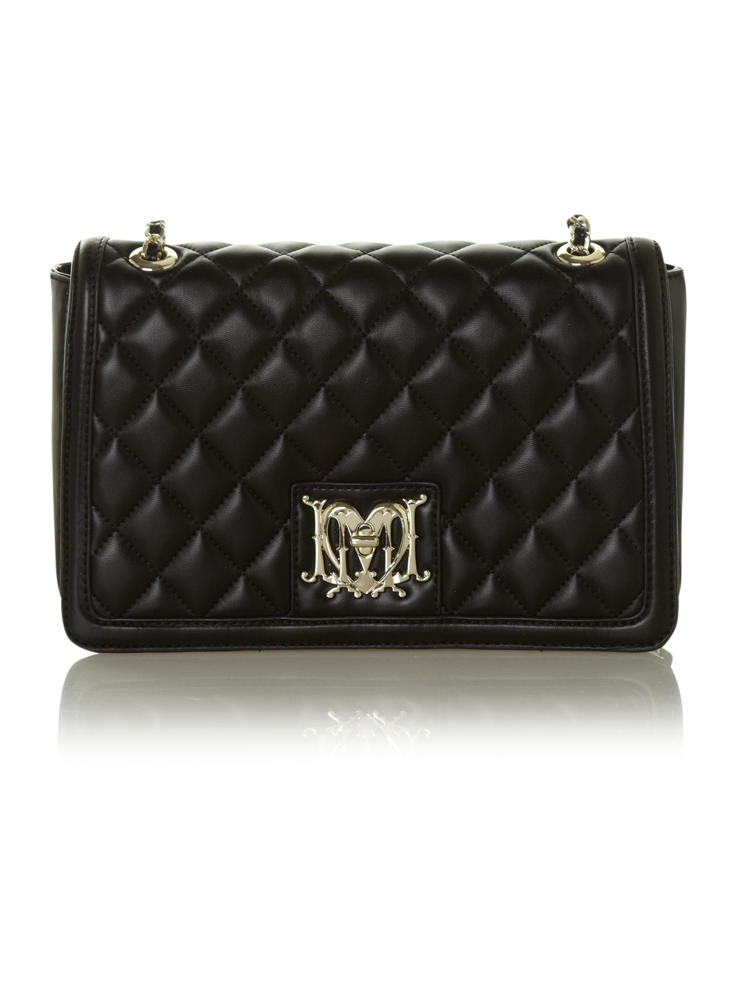 Love Moschino Black Medium Flapover Quilted Shoulder Bag 33