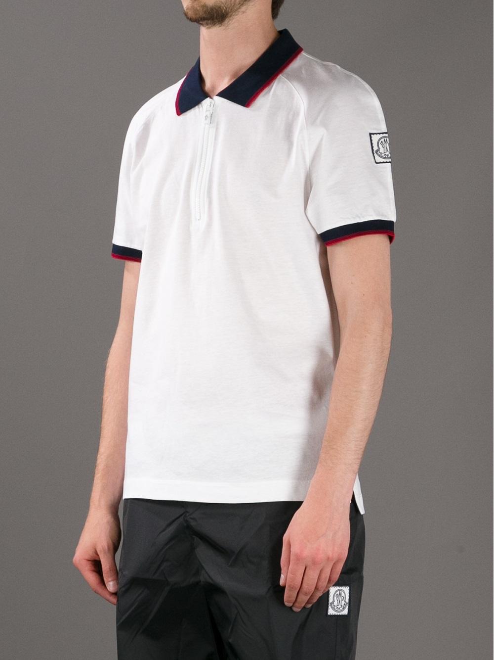 5a157b627 Moncler Gamme Bleu White Zip Polo Shirt for men