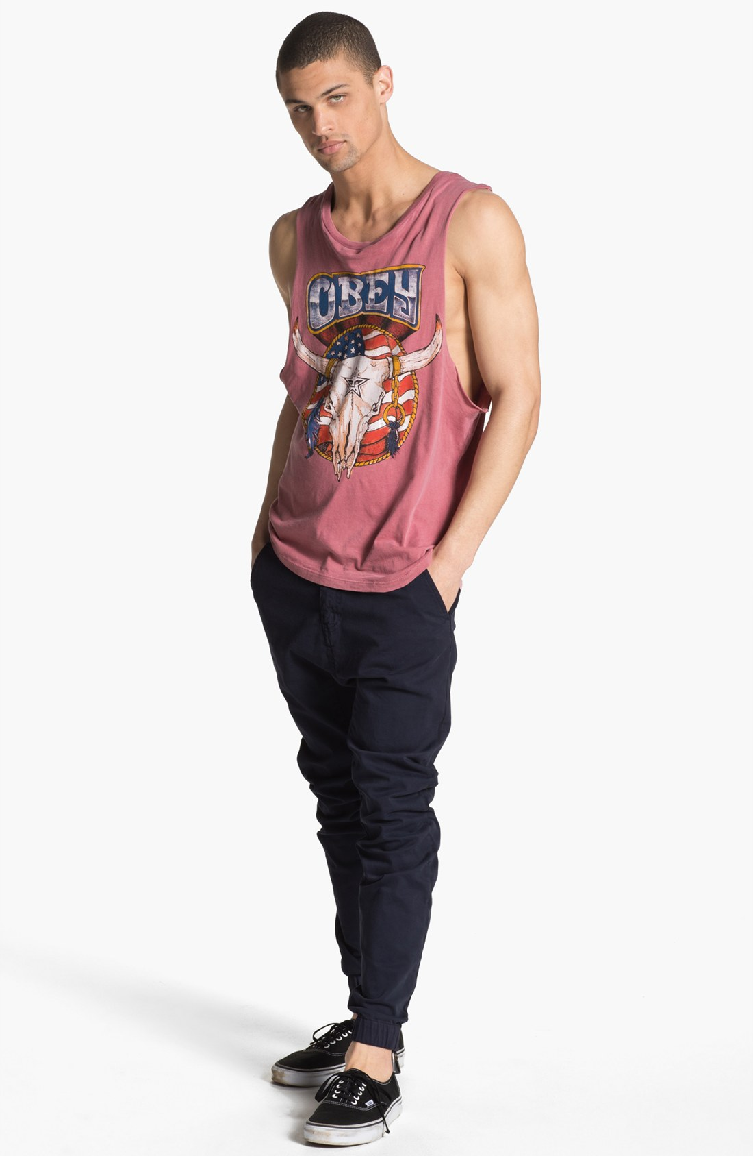 obey freedom skull graphic tank top in red for men lyst. Black Bedroom Furniture Sets. Home Design Ideas
