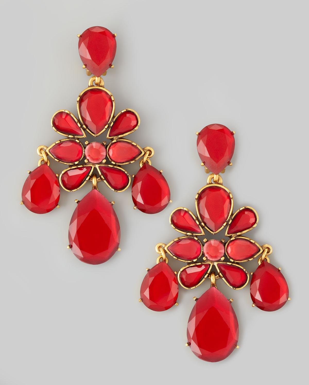 Lyst oscar de la renta crystal chandelier earrings in red gallery arubaitofo Gallery
