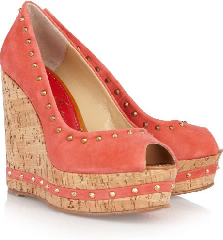 Paloma Barceló Menorca Studded Suede and Cork Wedge Sandals in Pink (gold)