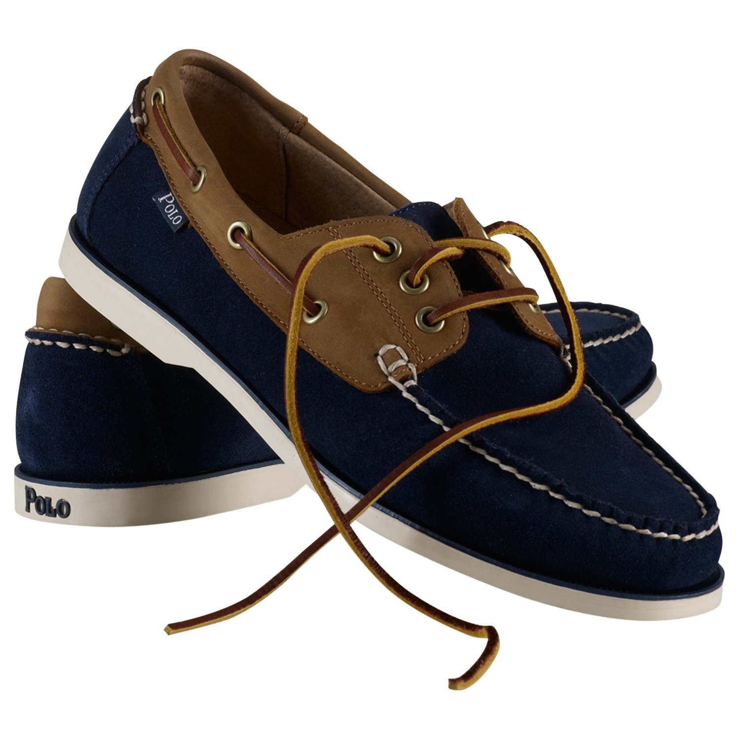 polo ralph bienne suede and leather boat shoes in