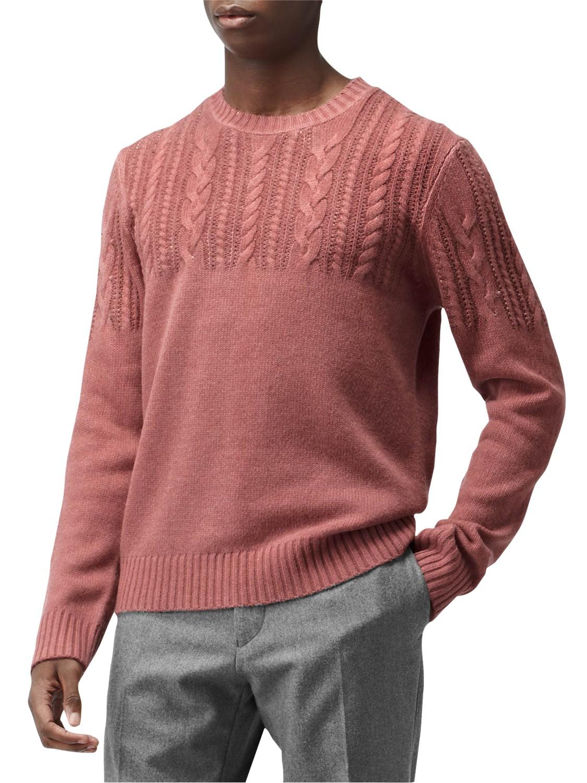 Reiss Burner Cable Knit Crew Neck Jumper in Rose (Red) for Men