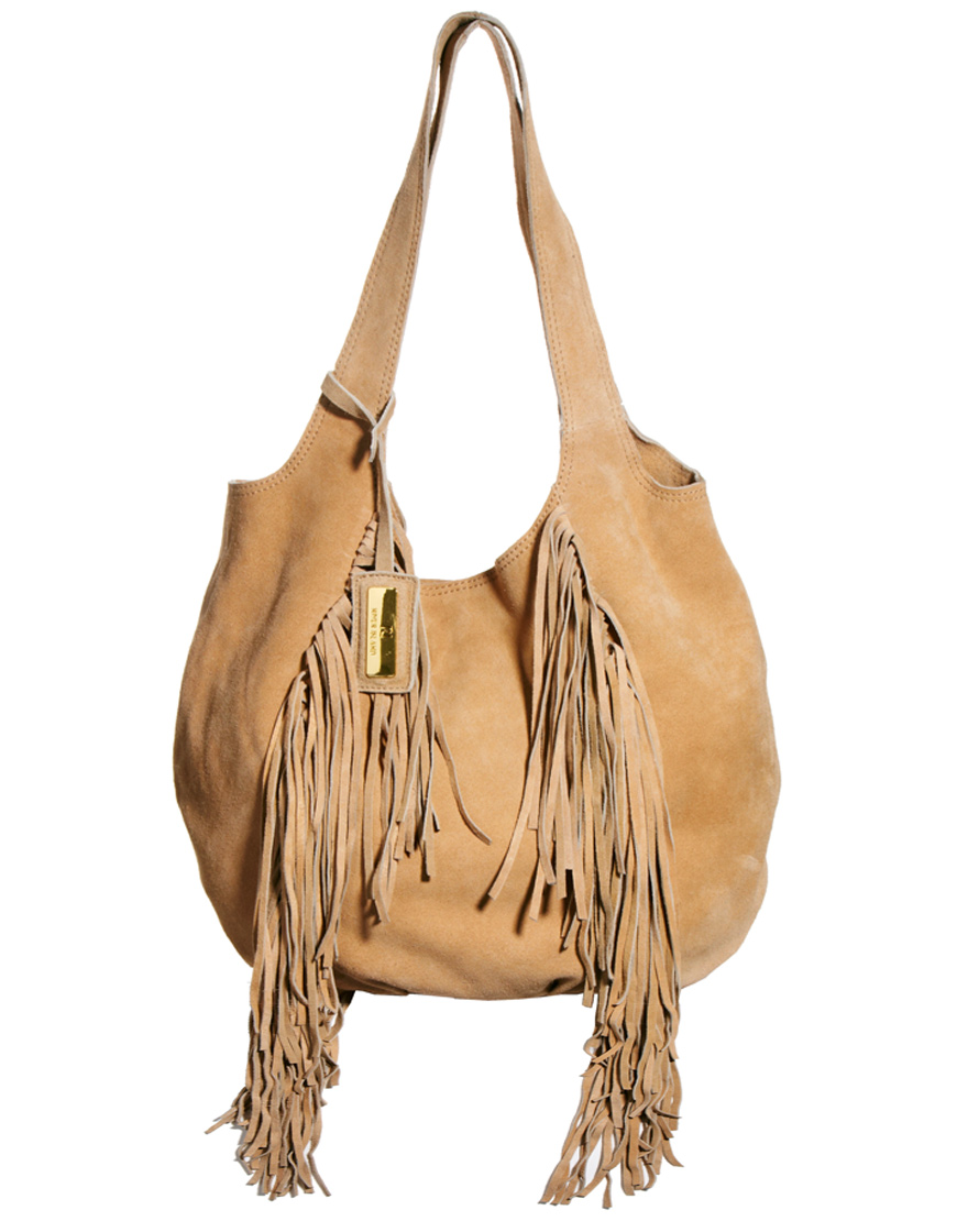 River island Tan Fringed Suede Slouch Hobo Bag in Brown | Lyst