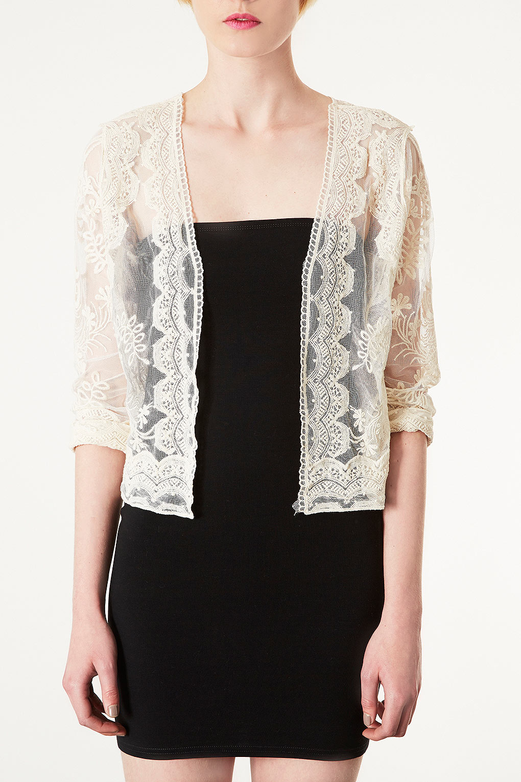 Topshop Skye Lace Cardigan By Navy in Natural | Lyst