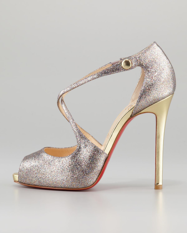 Gold Peep Toe Loubitins