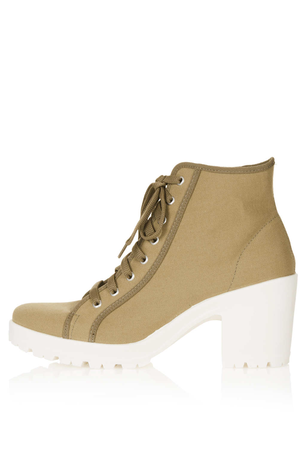 topshop mambo canvas lace up boots in khaki lyst