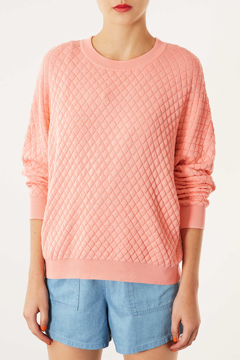 Topshop Knitted Quilted Sweater Jumper in Pink | Lyst
